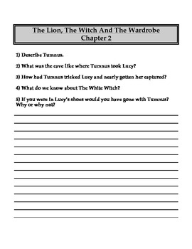 """The Lion, the Witch and the Wardrobe"" Chapter and Comprehension Questions"