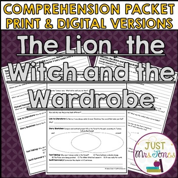 The Lion, the Witch and the Wardrobe Comprehension Packet