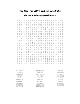 The Lion, the Witch and the Wardrobe (Narnia) Ch. 6-7 Vocabulary Word Search