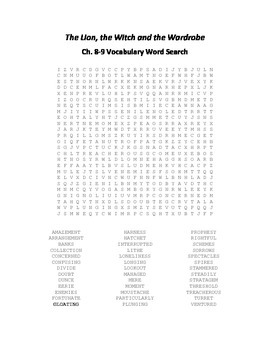 The Lion, the Witch and the Wardrobe (Narnia) Ch. 8-9 Vocabulary Word Search