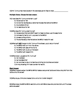 C.S Lewis Narnia The Lion, the Witch, and the Wardrobe Novel Study Test Packet