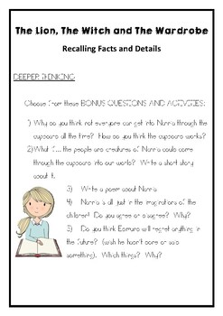 The Lion, the Witch and the Wardrobe Questions - Recalling Facts & Details