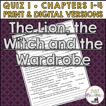 The Lion, the Witch and the Wardrobe Quiz 1 (Ch. 1-4)