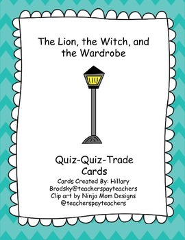 C.S Lewis Narnia The Lion, the Witch, and the Wardrobe Quiz-Quiz Trade Cards