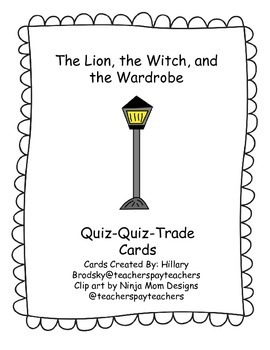 C.S Lewis Narnia The Lion, the Witch, and the Wardrobe Quiz-Quiz-Trade Cards