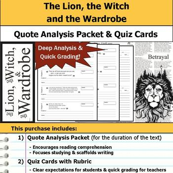 The Lion, the Witch and the Wardrobe - Quote Analysis & Reading Quizzes