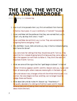 The Lion, the Witch and the Wardrobe Reading Quiz - Chapters 1-10