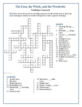 The Lion, the Witch, and the Wardrobe Syn./Ant. Crossword--Fun & Unique!