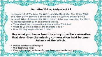 The Lion, the Witch, and the Wardrobe writing assignments