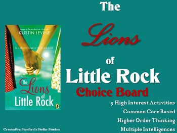 The Lions of Little Rock Choice Board Novel Study Activiti