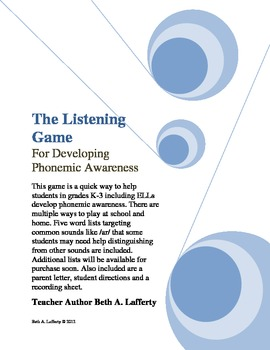 The Listening Game for Phonemic Awareness