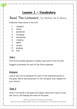 The Listerers  - A complete Literacy Unit for Yr 6 UK or Grade 5 US