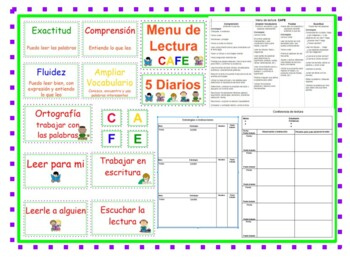The Literacy CAFE Menu And Daily 5 in Spanish