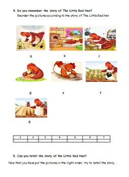 The Litte Red Hen. Illustrated Story and Reading Activities