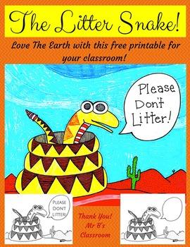"The Litter Snake! Free ""Please Don't Litter"" Printable. Love the Earth Earthday"