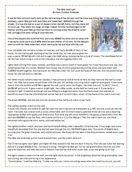 The Little Match Girl - Christmas Reading Comprehension / Vocabulary Worksheet