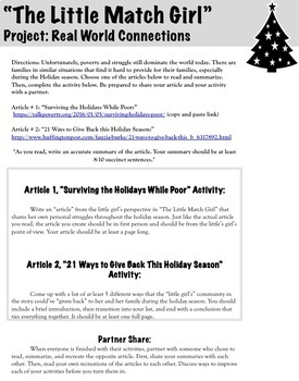 """""""The Little Match Girl"""" Christmas Story: Close Reading and Analysis Unit"""