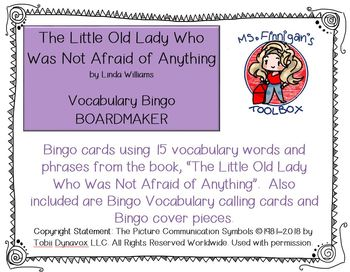 The Little Old Lady Who Was Not Afraid of Anything BOARDMAKER Bingo