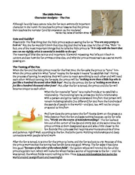 The Little Prince, In Depth Character Analysis – The Fox