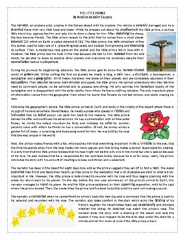 The Little Prince - Reading Comprehension/ Vocabulary Worksheet