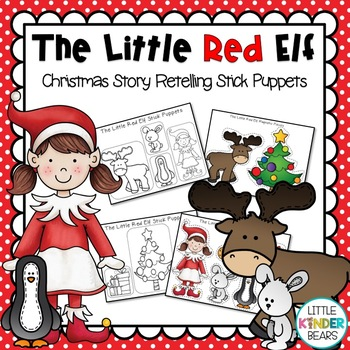 The Little Red Elf Christmas Stick Puppets