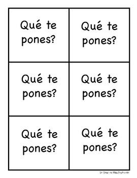 Qué te pones? Spanish Clothing