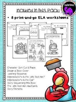 The Little Red Hen Literacy Activity Pack for Kindergarten and First Grade