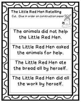 The Little Red Hen- Retelling, Writing, Character Traits & Easy Reader