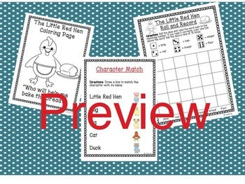 The Little Red Hen Literacy & Word Work Activity Pack