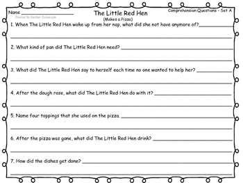 The Little Red Hen Makes a Pizza - Activities to Go With the Book!