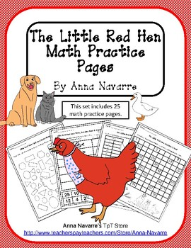 The Little Red Hen Math Practice Pages