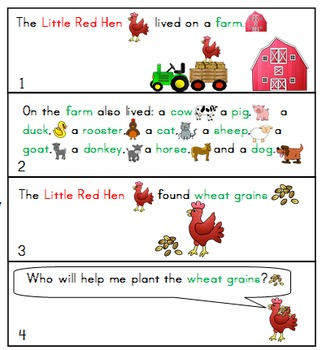 The Little Red Hen-On the FarM-Story Telling -Sequencing Visuals-FREEBIE