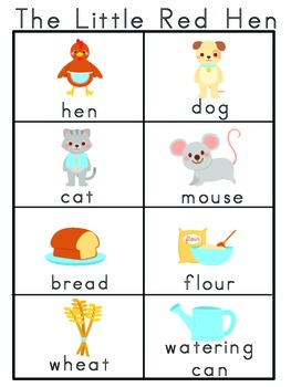 The Little Red Hen Picture Word Bank and Picture Cards