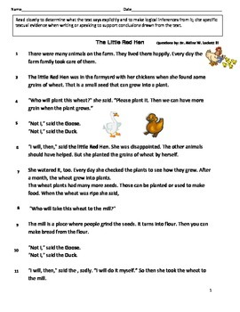 The Little Red Hen Reading Comprehension Assessment
