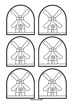 The Little Red Hen - Stick puppet templates (black and white)