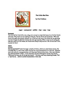 The Little Red Hen Vocabulary