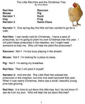 The Little Red Hen and the Christmas Tree Reader's Theater Play