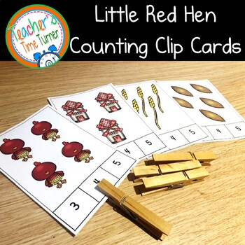 The Little Red Hen counting clip cards
