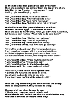 The Little Red Hen script editable