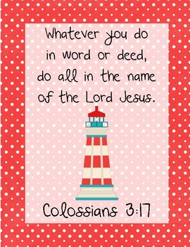 The Little Red Lighthouse Bible Verse Printable (Colossians 3:17)