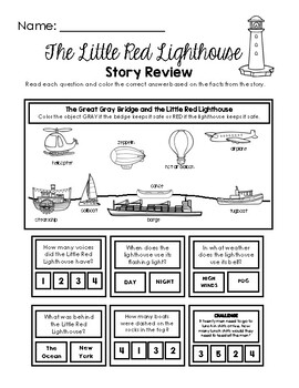The Little Red Lighthouse - Story Retention Q&A Worksheet