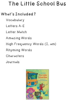 The Little School Bus Interactive Notebook ~ Reading Street Kindergarten