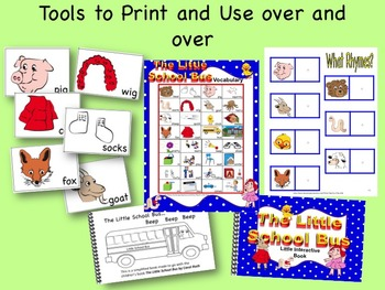 The Little School Bus Activity Pack: sequence,  LA & math centers, glyph, books