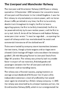 The Liverpool and Manchester Railway Handout