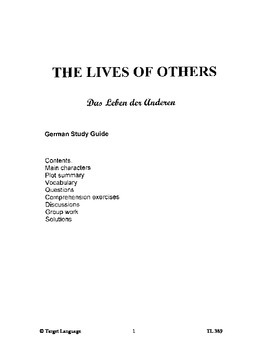 The Lives of Others-German Study Guide