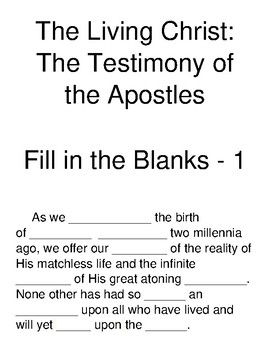 The Living Christ: The Testimony of the Apostles Fill-in-the-Blanks Part 1