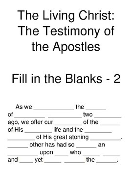 The Living Christ: The Testimony of the Apostles Fill-in-the-Blanks Part 2