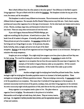 The Living Earth Worksheet