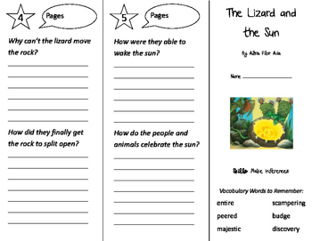 The Lizard and the Sun Trifold - Storytown 2nd Grade Unit 6 Week 4