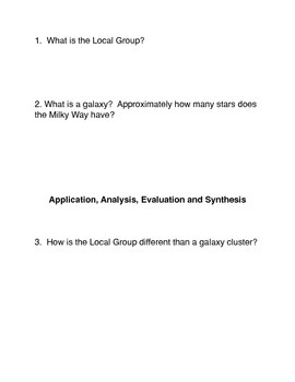 The Local Group and Galaxy Clusters Common Core Activity